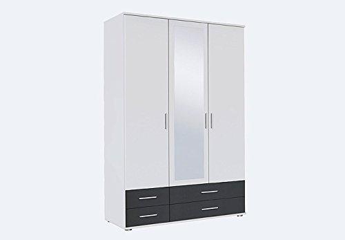 Kleiderschrank Rasant Extra Schrank mit Spiegel weiß grau metallic 3 Türen Breite 127 cm