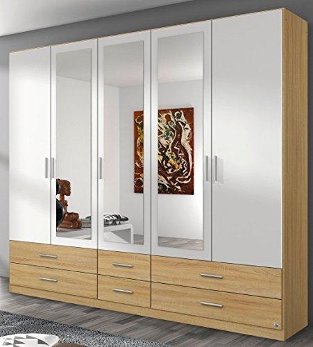 Rauch Kleiderschrank 5-türig, 3 Spiegeltüren, 6 Schubkästen, Eiche Sonoma-alpinweiß
