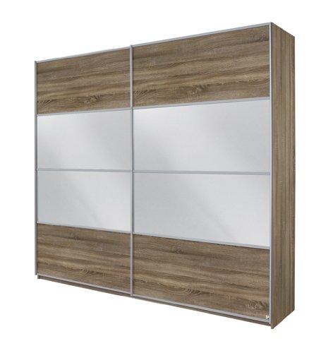 Rauch Schwebetürenschrank mit Spiegel 2-türig, Eiche Havanna Nachbildung, BxHxT 226x210x62 cm