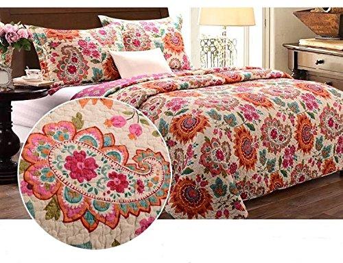 Unimall 3 tlg. Premium Tagesdecke Baumwolle 230 x250 cm Bettüberwurf Doppelbett Sofa Überwurf mit Schick Paisley Sonnenblume Muster