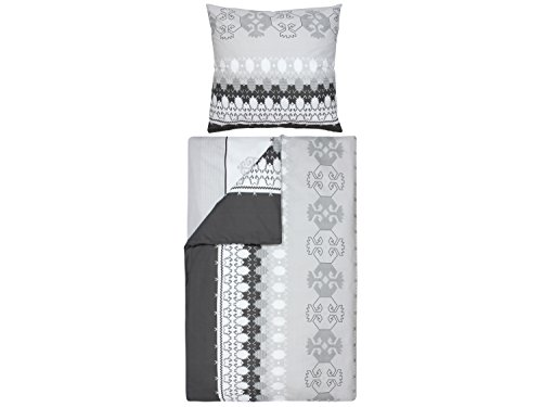 npluseins Baumwoll-Bettwäsche - mit Verschiedenen Motiven - Set - mit 1 Kissenbezug ca. 80 x 80 cm und 1 Bettdeckenbezug ca. 135 x 200 cm, Native Ornament
