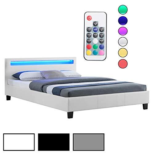 CARO-Möbel Polsterbett Jerry Einzelbett Bettgestell in 3 Farbvarianten mit LED Beleuchtung, 140 x 200 cm, inklusive Lattenrost