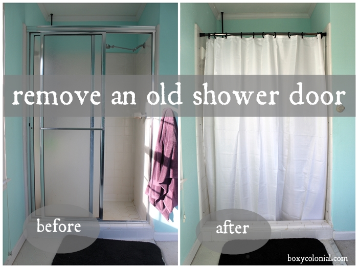 remove shower door before and after