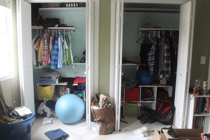 "messy ""before"" closet"