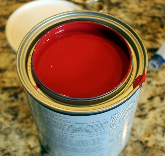 red paint in can