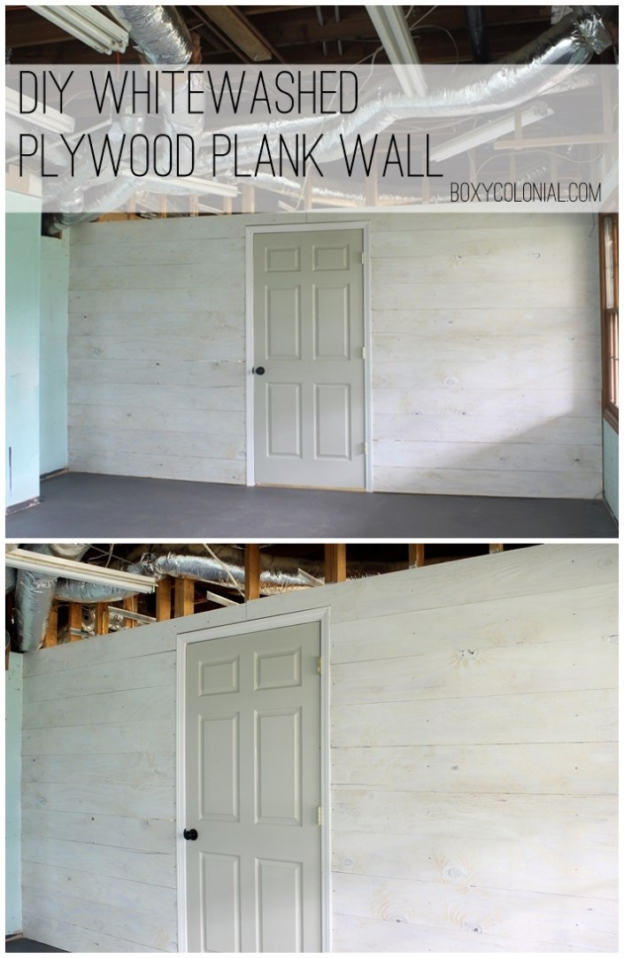 DIY Whitewashed Plank Wall from plywood.....easy and inexpensive project!