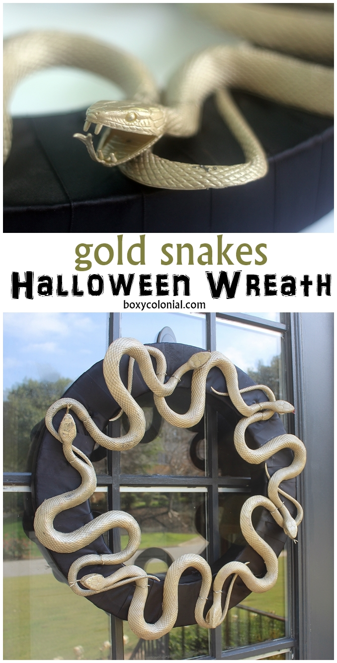 Creepy Halloween wreath with gold painted snakes