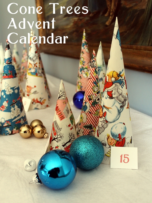 Cone Tree Advent Calendar made with vintage wrapping paper