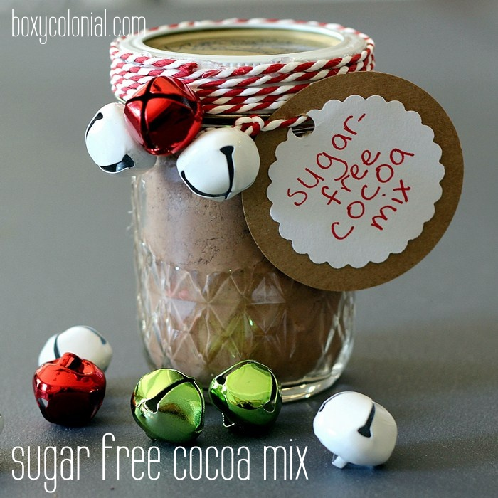 Easy sugar free hot cocoa mix with erythritol. Just add milk and stevia. Use coconut or almond milk to make it low carb or keto friendly. Make a great handmade Christmas or holiday gift.