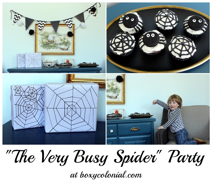 The Very Busy Spider toddler b-day party with ideas for food, decor, and diy gift wrap