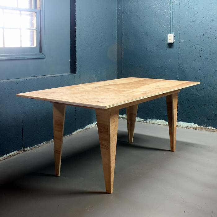 dining table from one sheet of birch plywood by boxy colonial