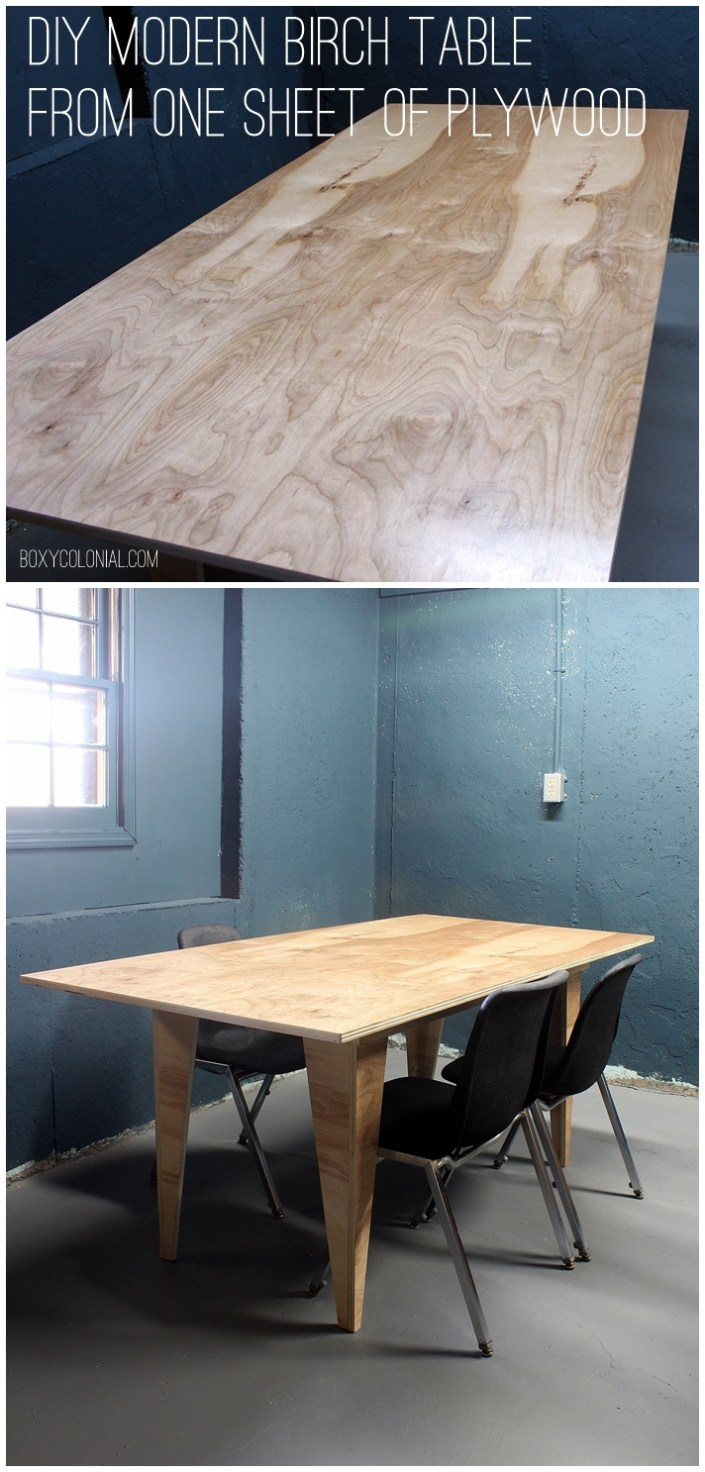 Make this modern birch table from a single sheet of plywood