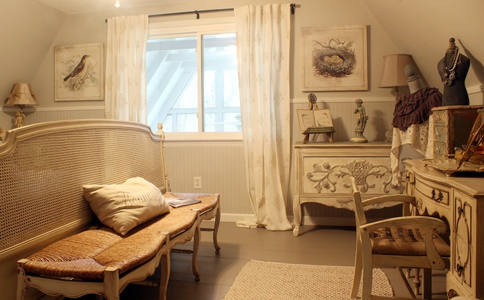 french bedroom in A-frame cottage