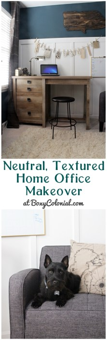 Take a tour of this neutral, textured home office makeover, with affordable furniture from Sauder #sponsored #sauderspace