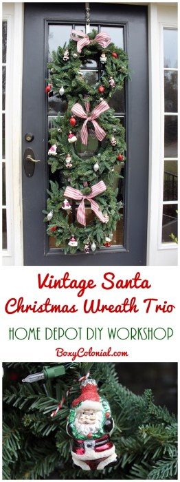 Make this vintage Santa themed DIY Christmas Wreath Trio with Home Depot DIY Workshops #sponsored