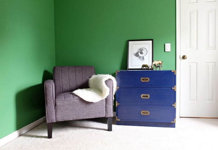 sauder chair and navy campaign chest