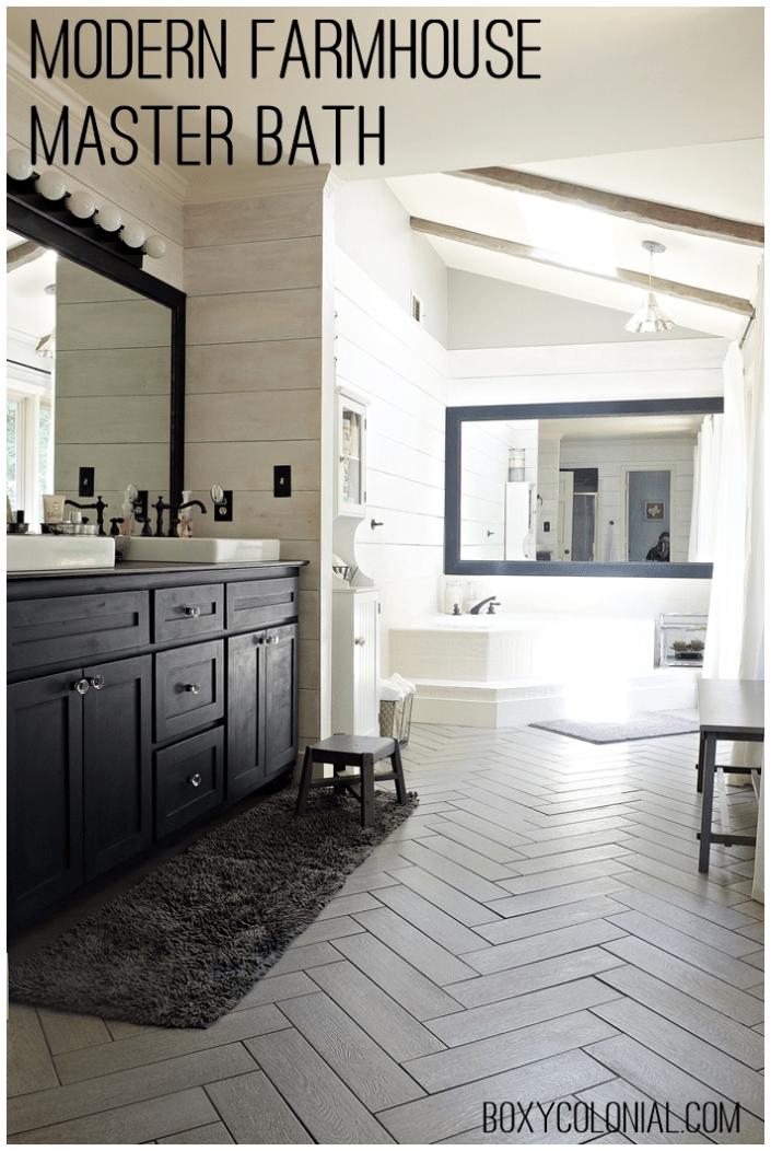 Kristi's Modern Farmhouse/ Rustic Glam Master Bathroom ... on Modern Farmhouse Shower  id=83439