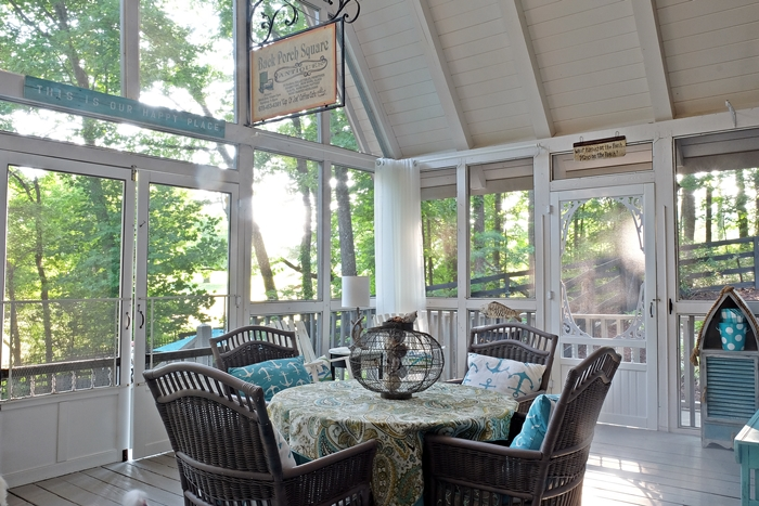 Screen porch in A-frame cottage