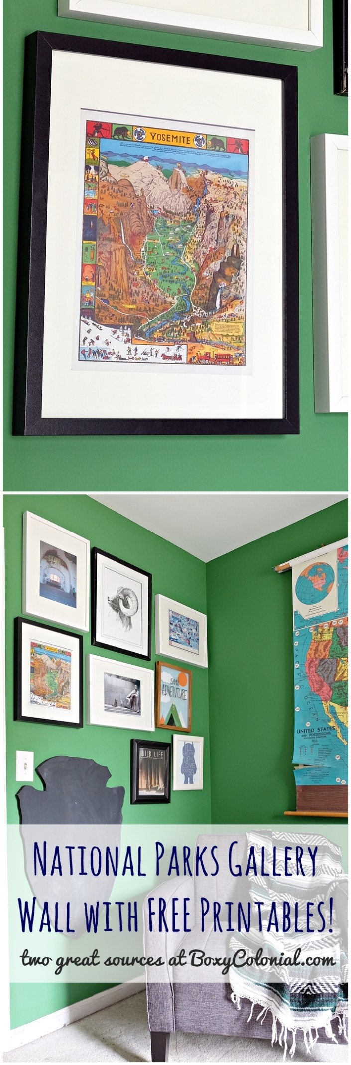 All the details on putting together a National Parks inspired gallery wall for a kids' room, with two great sources for FREE printable vintage maps and posters