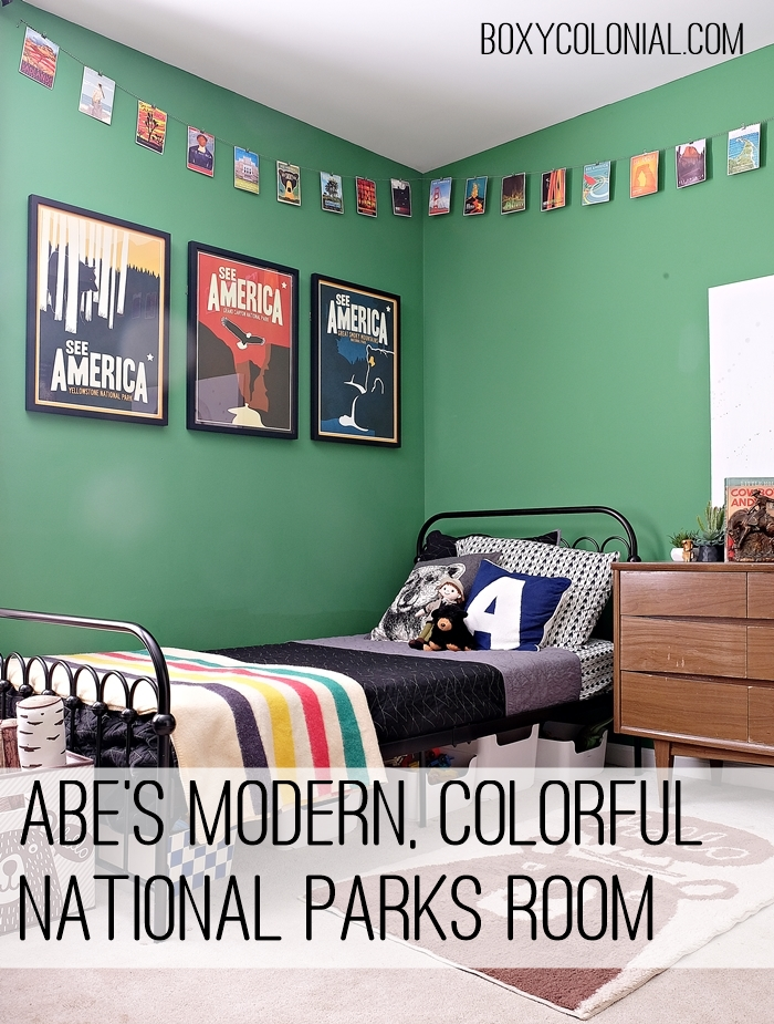 Tour this colorful, modern National Parks inspired kid's room