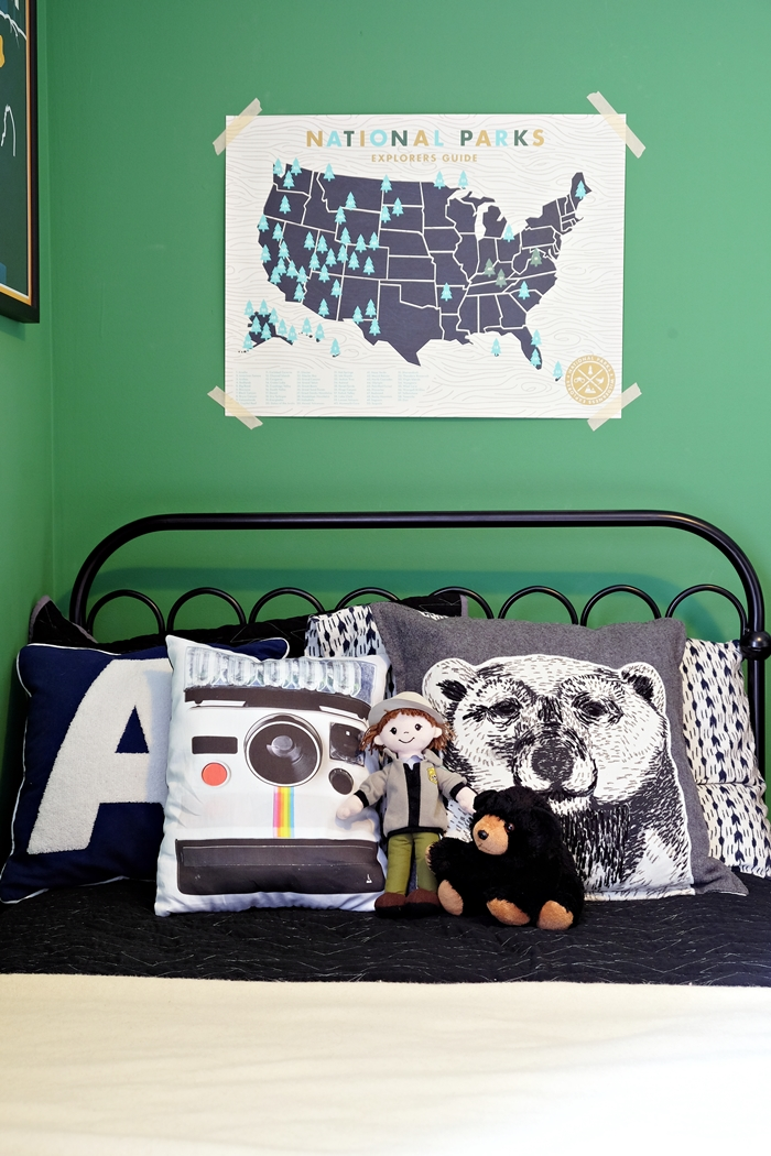 vintage camera pillow from uncommon goods in National Parks kids room