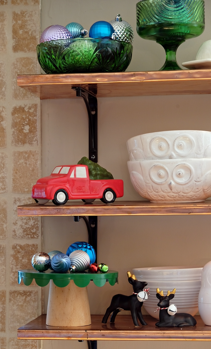 red truck and green cake stand from Target
