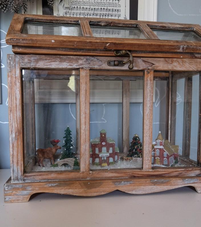 Christmas village terrarium