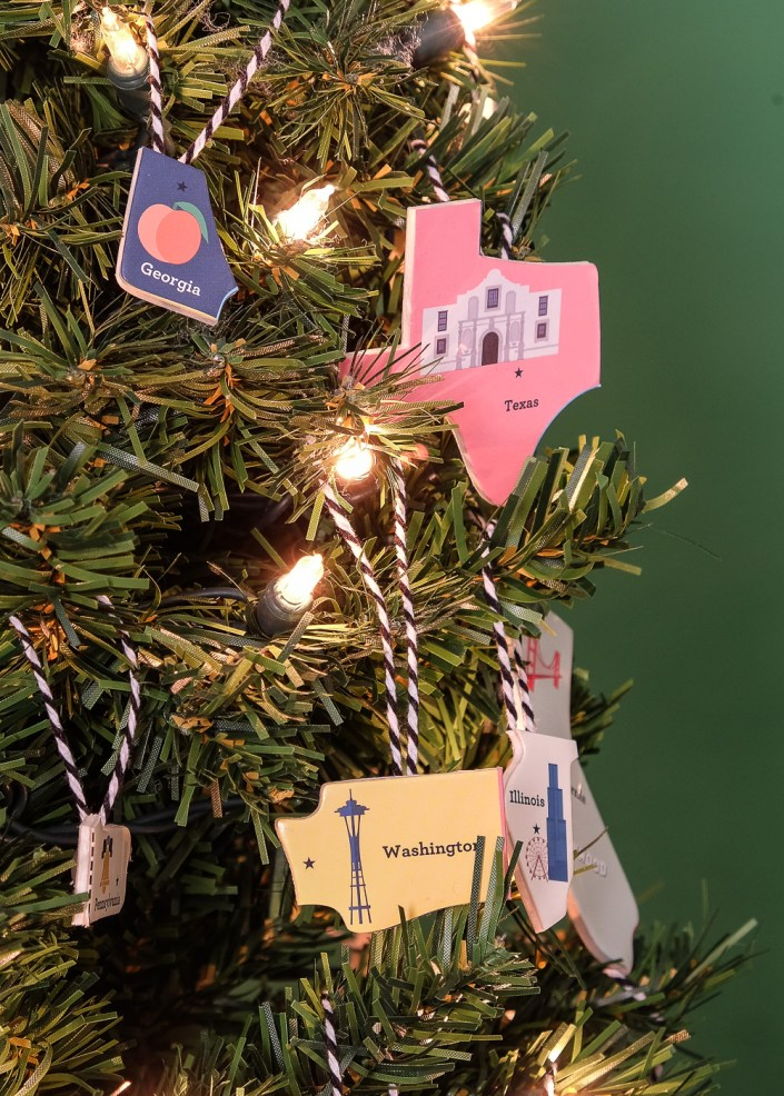 US state shaped ornaments from upcycled puzzle