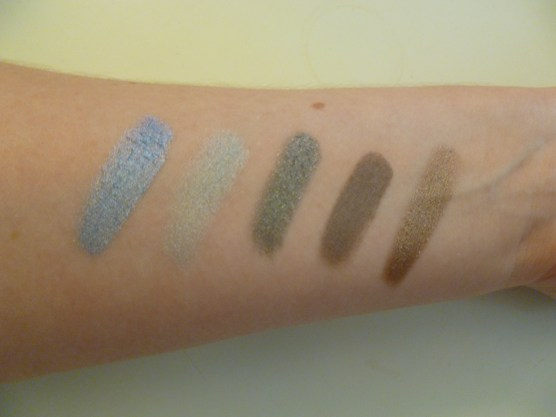 Left to Right: Blue Paradise, Icy Mint, Audacious Asphalt, Tough as Taupe, Bad to the Bronze