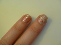 Bare nail and over Essie Marshmallow