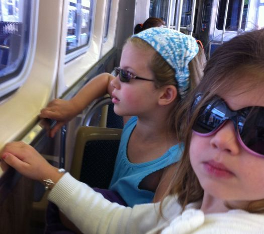 Lucy and Rosie on the el.