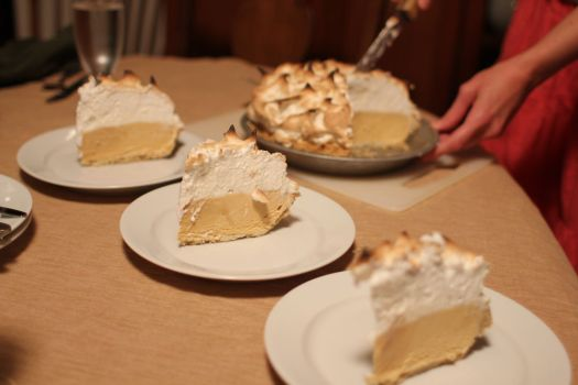 Baked alaska pie with salty caramel ice cream.