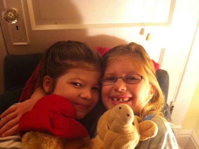 Sister hug.