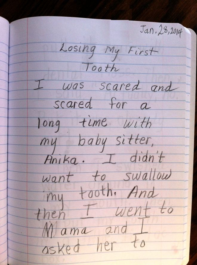 Page 1 of Rosie's lost tooth story.