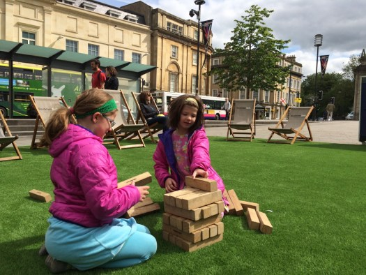 A giant jenga set in Bath.
