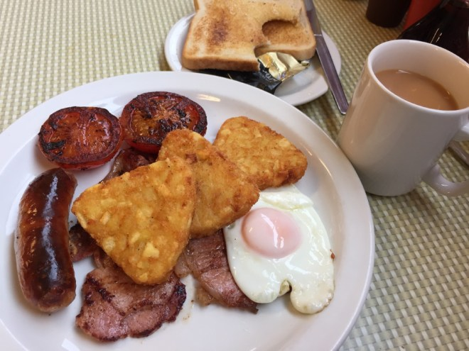 A full English breakfast at the Regency Cafe in London.