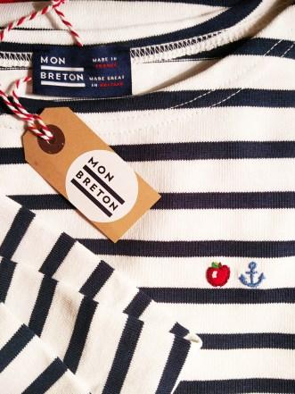 Mon Breton Stripe Top Unisex Long Sleeve Custom Emboidery