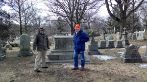 Adam Tierney-Eliot (left) and Hank Peirce with token Unitarian, William Ellery Channing