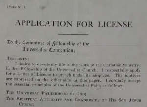 Universalist Church licence application (detail), 1920