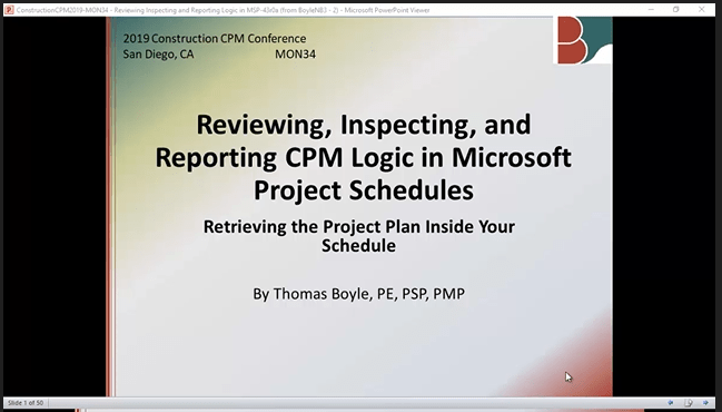 Construction CPM Conference 2019 – Schedule Logic in Microsoft Project