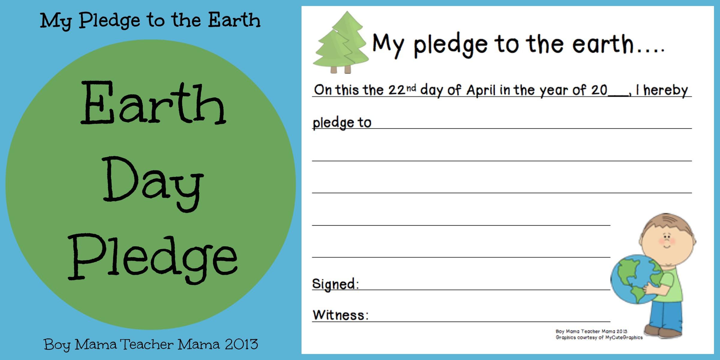 Boy Mama Earth Day Pledge