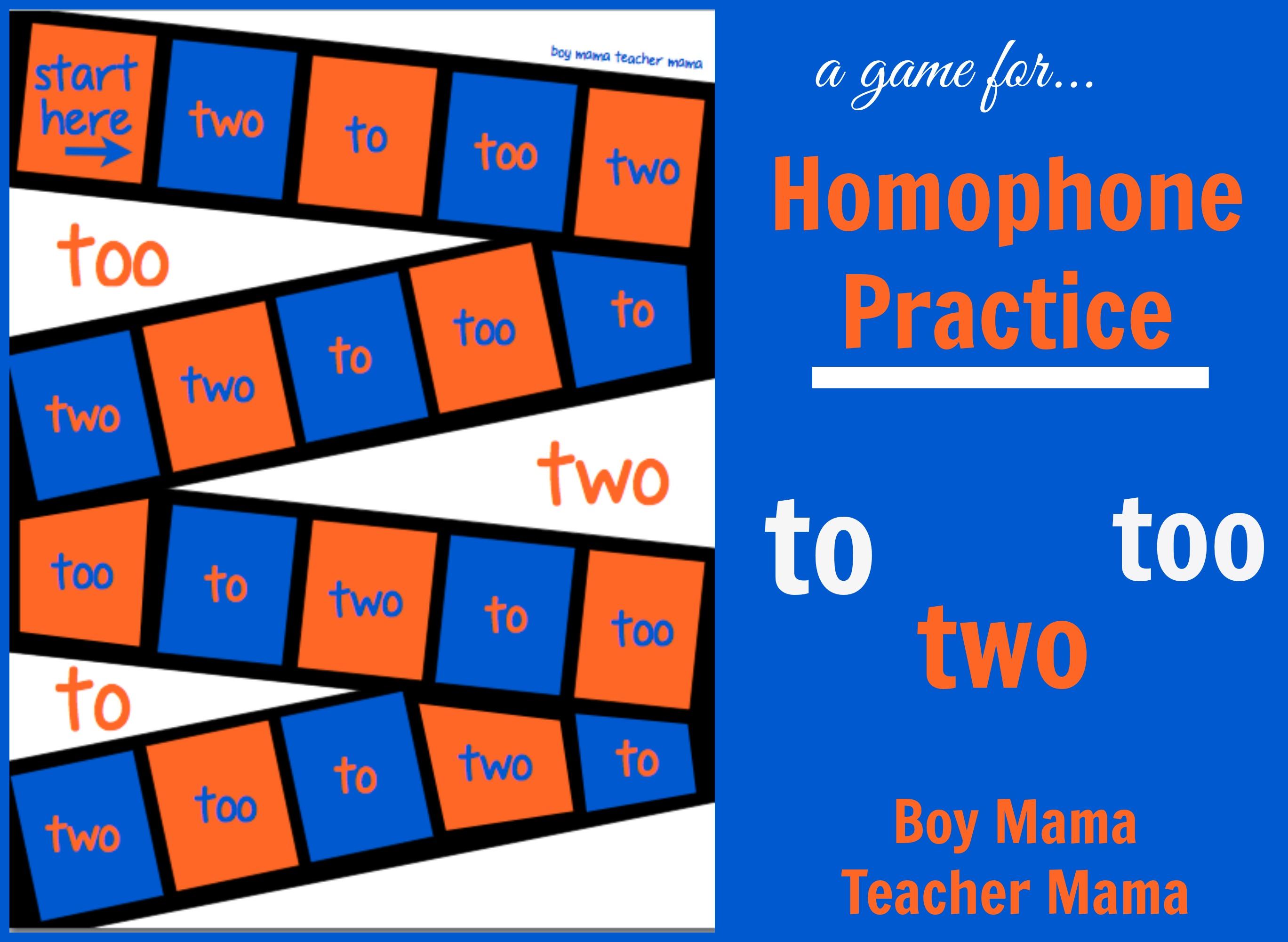Teacher Mama Homophone Practice To Too Two