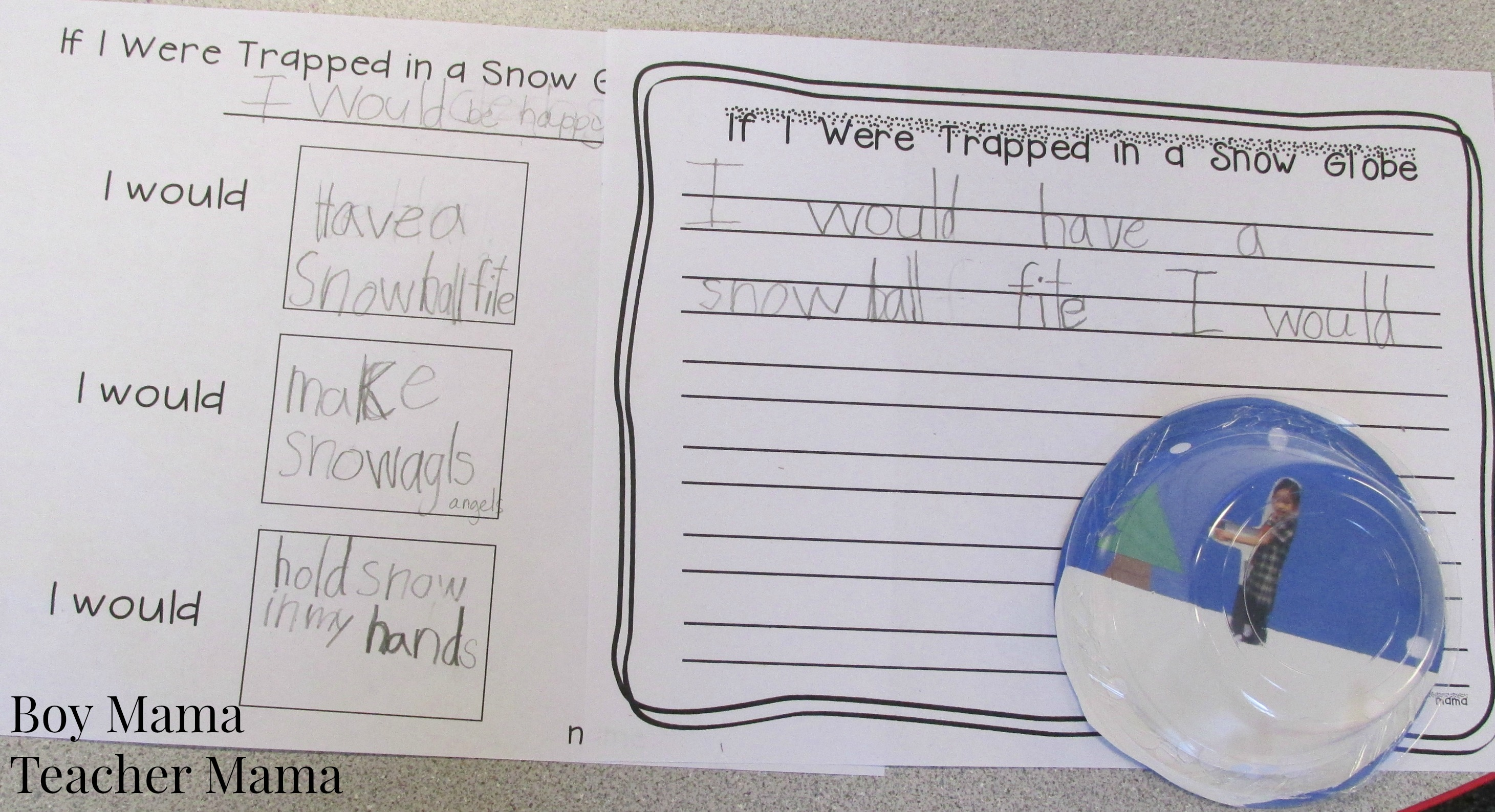 Free Trapped In A Snow Globe Writing Printable