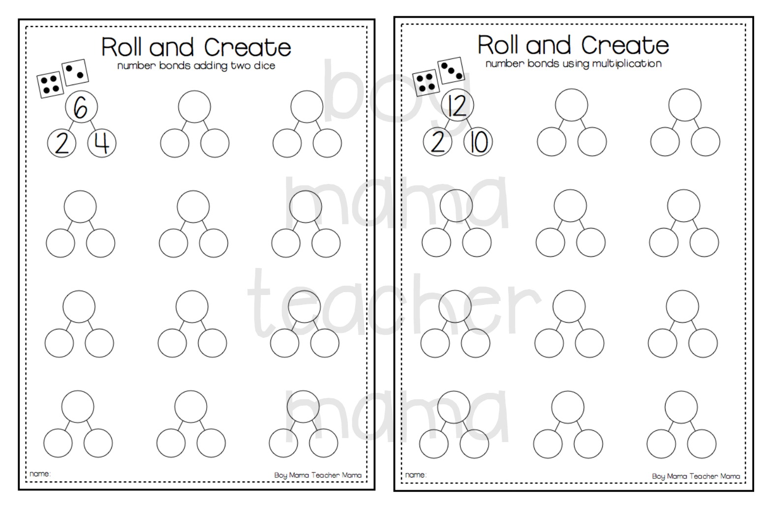 Teacher Mama Free Roll And Create Number Bonds Printable After School Linky