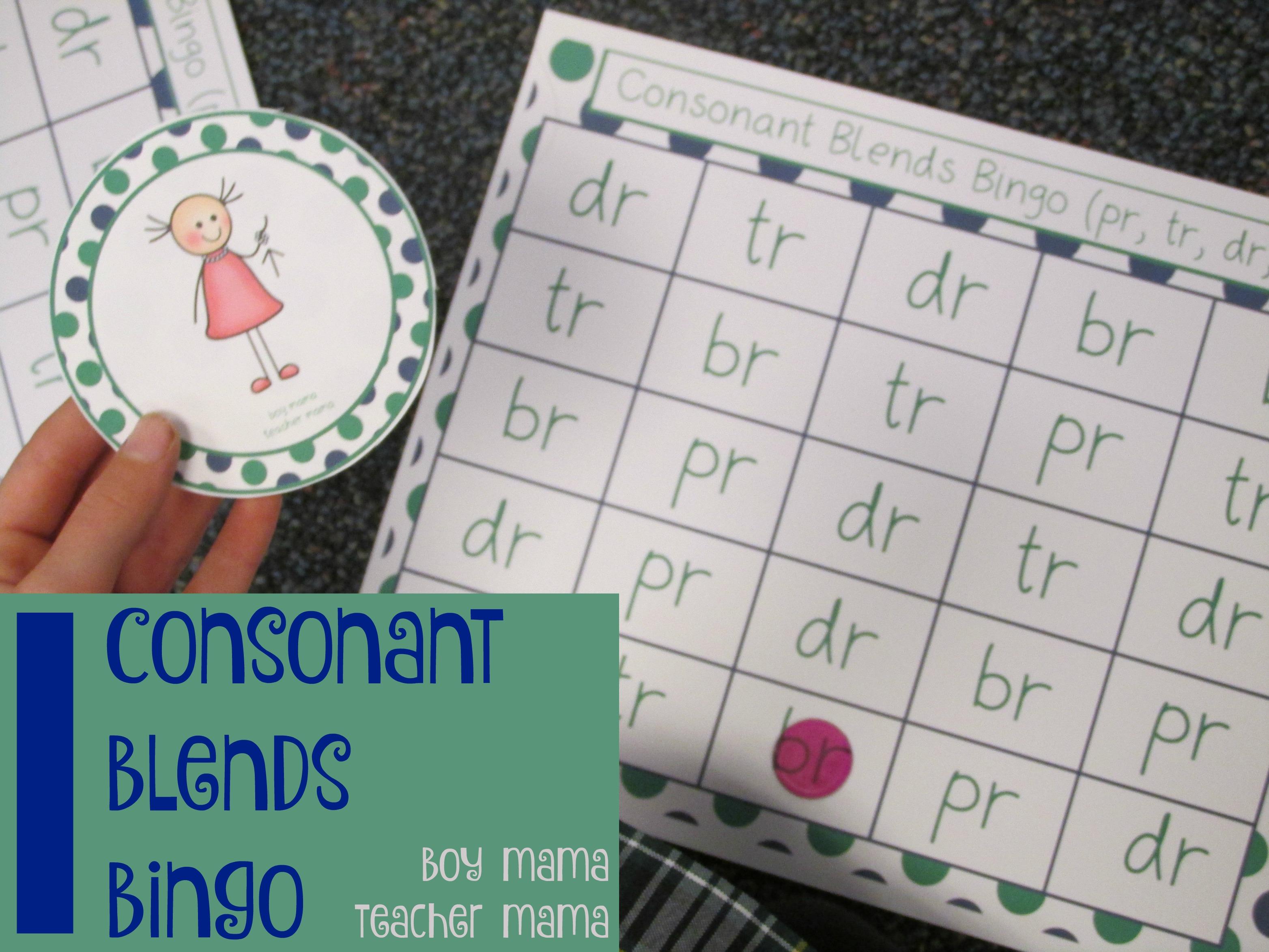 Teacher Mama Consonant Blends Bingo Pr Br Tr Dr