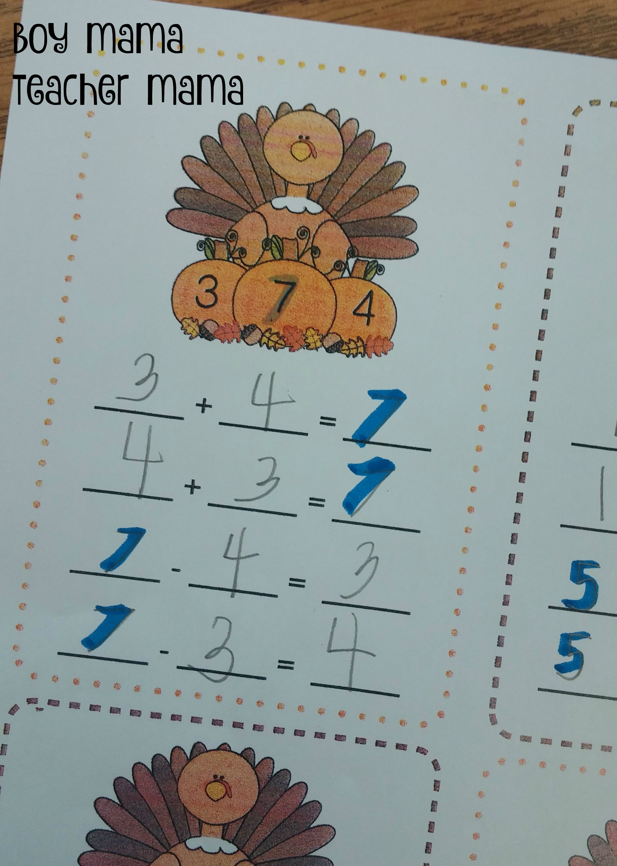 Free Thanksgiving Turkey Fact Families Practice Sheets