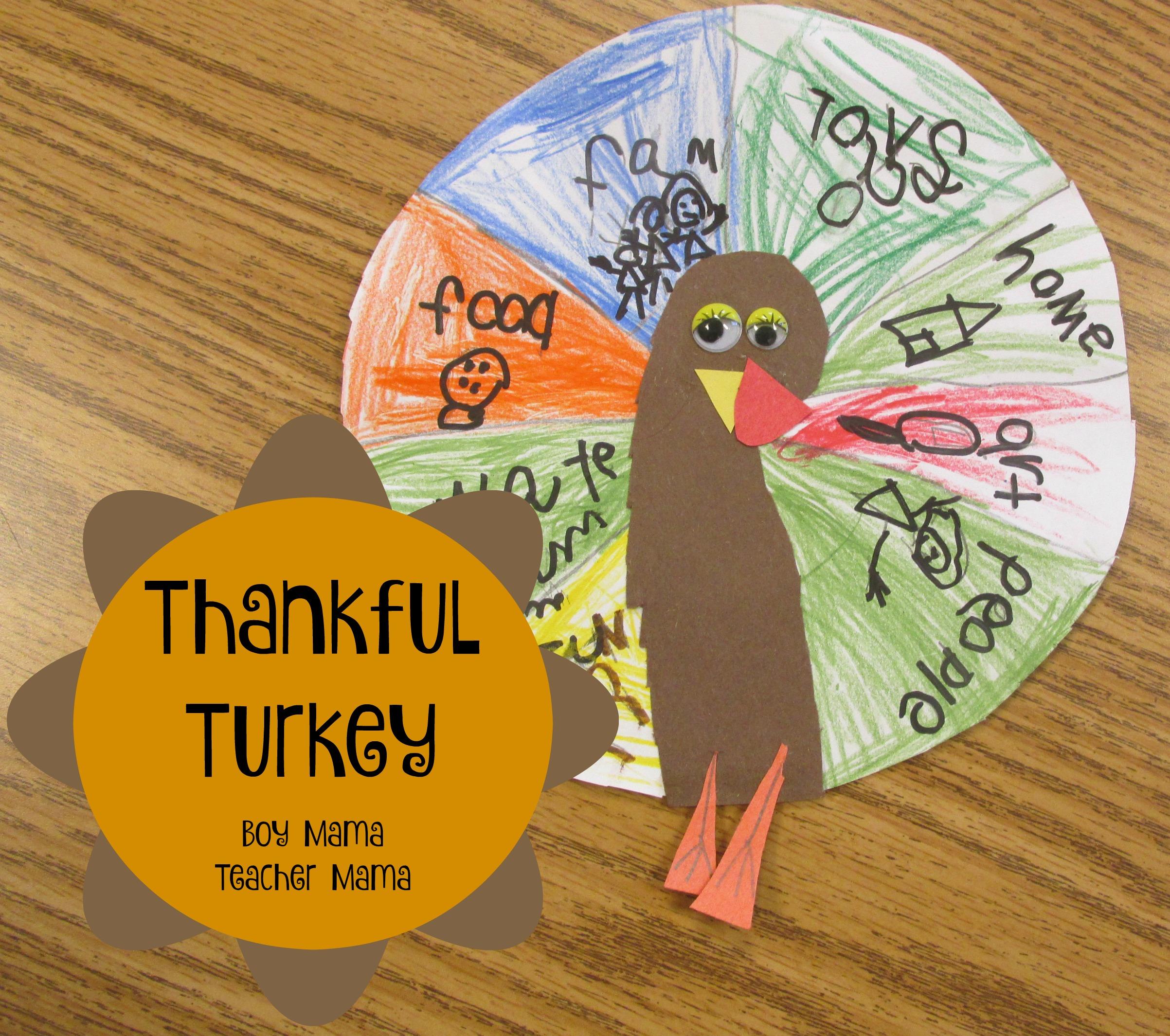 Teacher Mama Thankful Turkey Craft And Writing Activity
