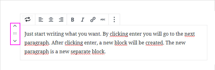 Paragraph settings in WP block editor