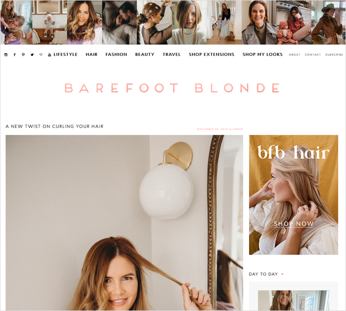 Barefoot Blonde - Lifestyle blog - site screen shot