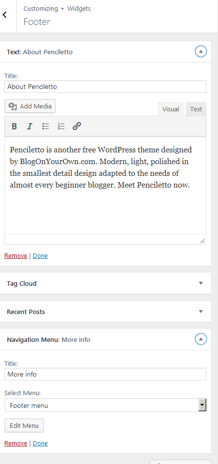 Footer in a Free WordPress theme